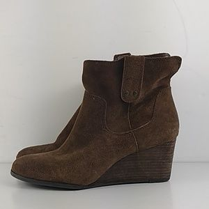 Lucky Brand suede wedge ankle boots size 8.5